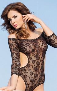 Rosa - Боди с открытыми плечами и рукавами 3/4 черное-M/L