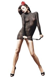 Платье с длинными рукавами из ажурной сетки Baci, чёрное, OS