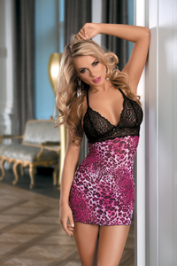 Комбинация Candy Girl с контрастным бюстом и стринги, розово-черные, OS