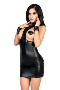 Платье с открытой грудью  MENSDREAMS, экокожа, черный, M-L
