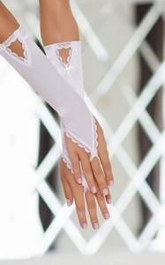 Перчатки атласные белые-S/L