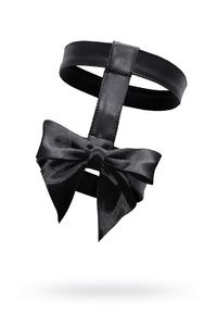 Подвязка двойная с бантом, MENSDREAMS, экокожа, черный, OS