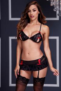Комплект Baci (бюстгальтер и юбка-пояс для чулок), черно-красные, OS