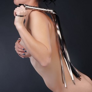 Плеть Sitabella серебро с чёрным,65 см