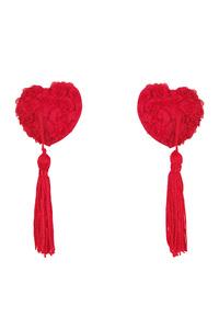 Наклейки на соски (пэстис) Anais Vellya в форме сердечек с розами и кисточками, красные