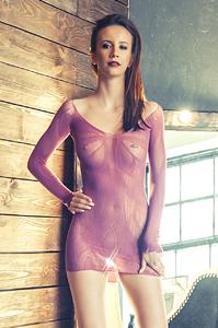 Платье Erolanta Net Magic бесшовное с рукавами, с цветочным рисунком, пурпурное, S/L